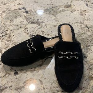 "Black slip-on ""smoking slipper"" flat mule"